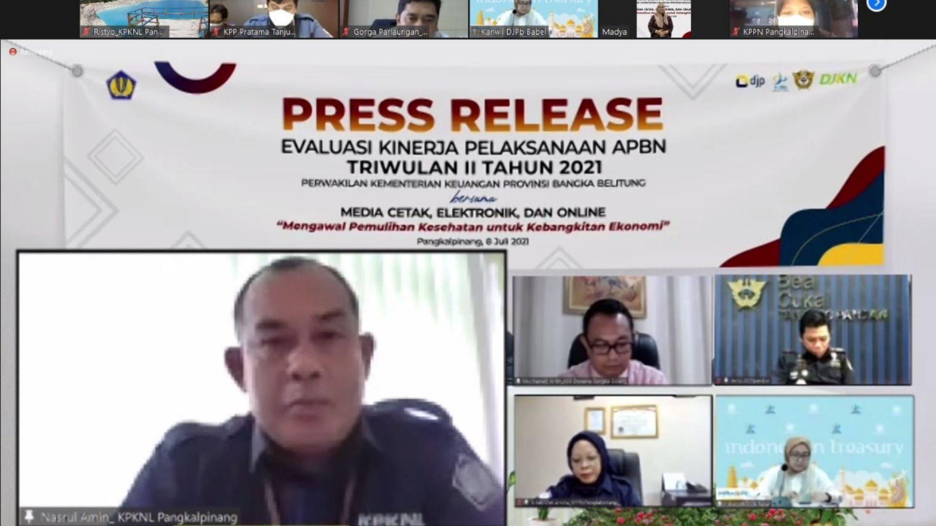 Kemenkeu Perwakilan Provinsi Kepulauan Bangka Belitung Gelar Media Meeting Evaluasi Kinerja Pelaksanaan APBN Triwulan II Tahun 2021