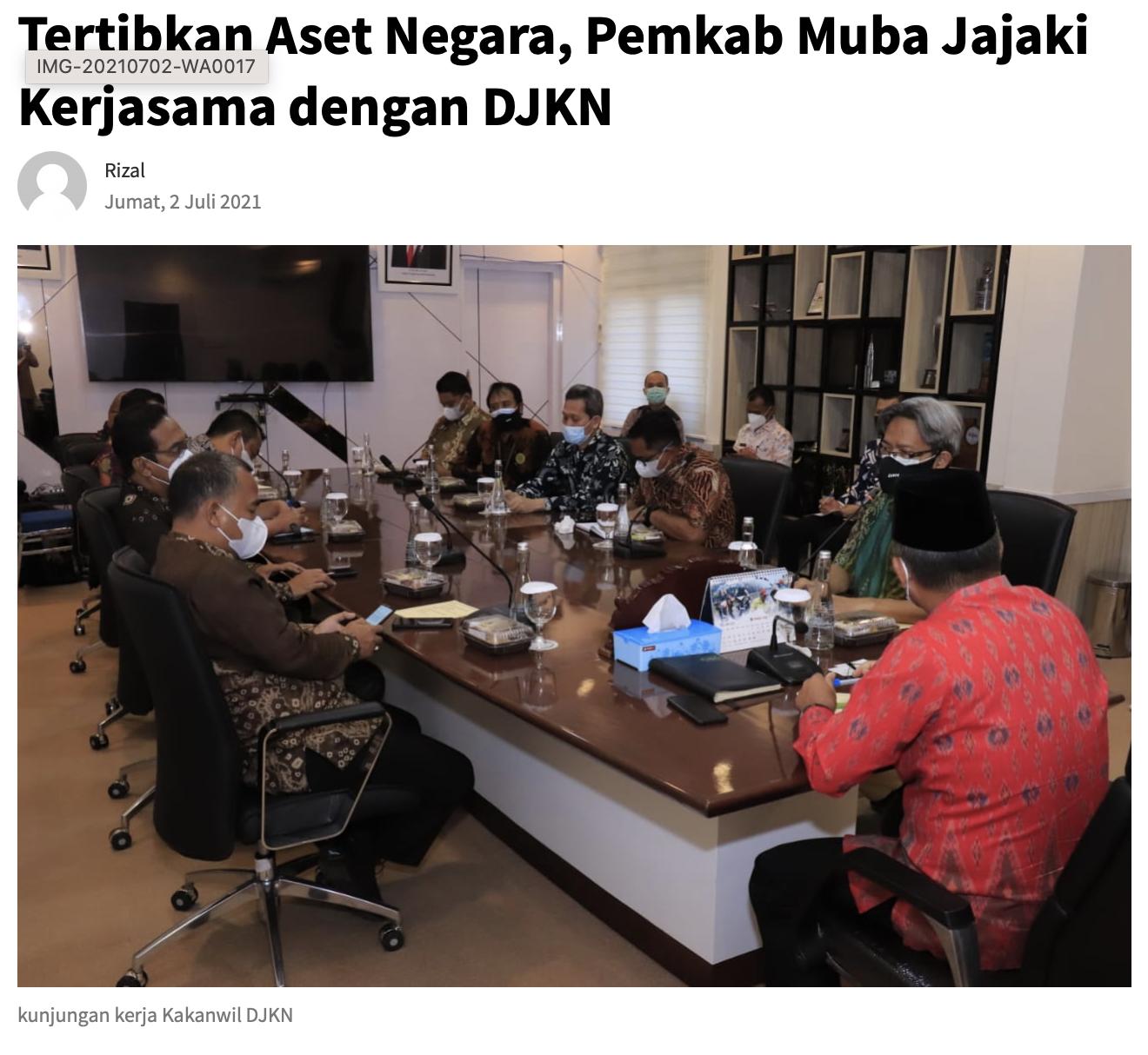 Tertibkan Aset Negara, Pemkab Muba Jajaki Kerjasama dengan DJKN