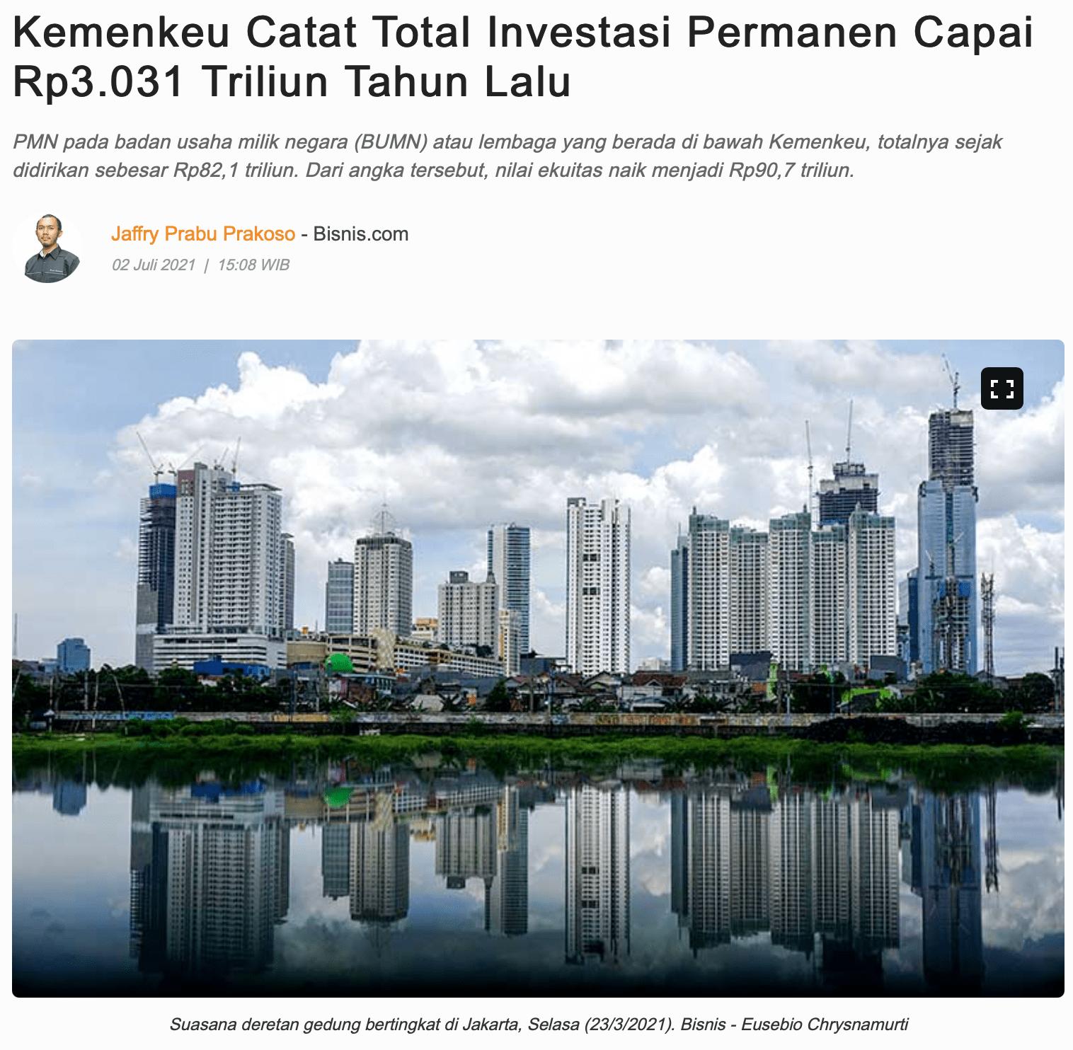 Kemenkeu Catat Total Investasi Permanen Capai Rp3.031 Triliun Tahun Lalu