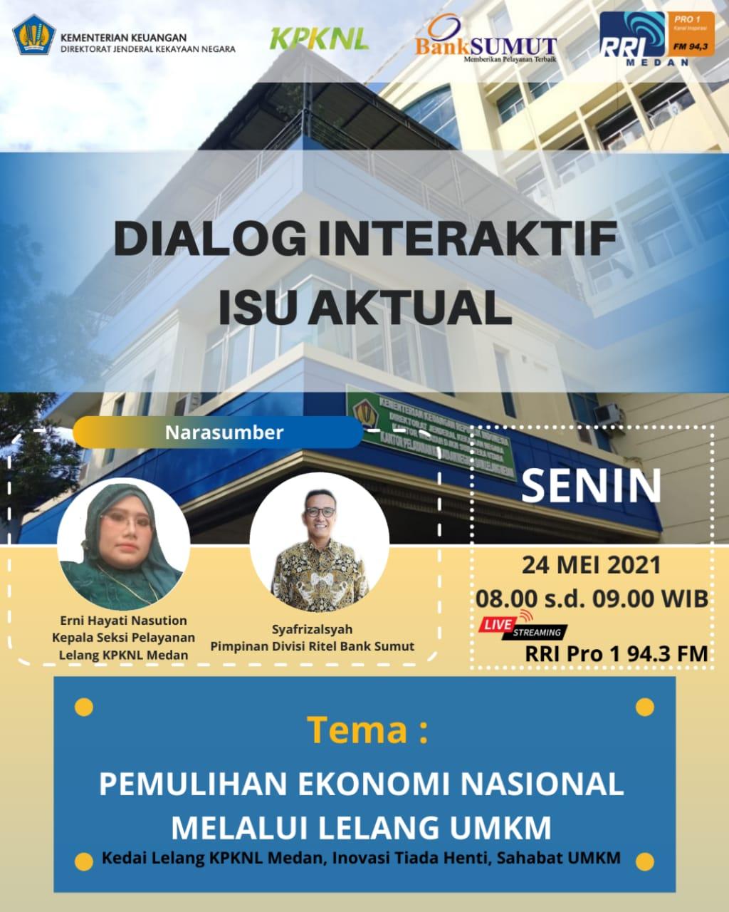 Masyarakatkan Kedai Lelang UMKM, KPKNL Medan Adakan Dialog Interaktif melalui Siaran RRI Pro I