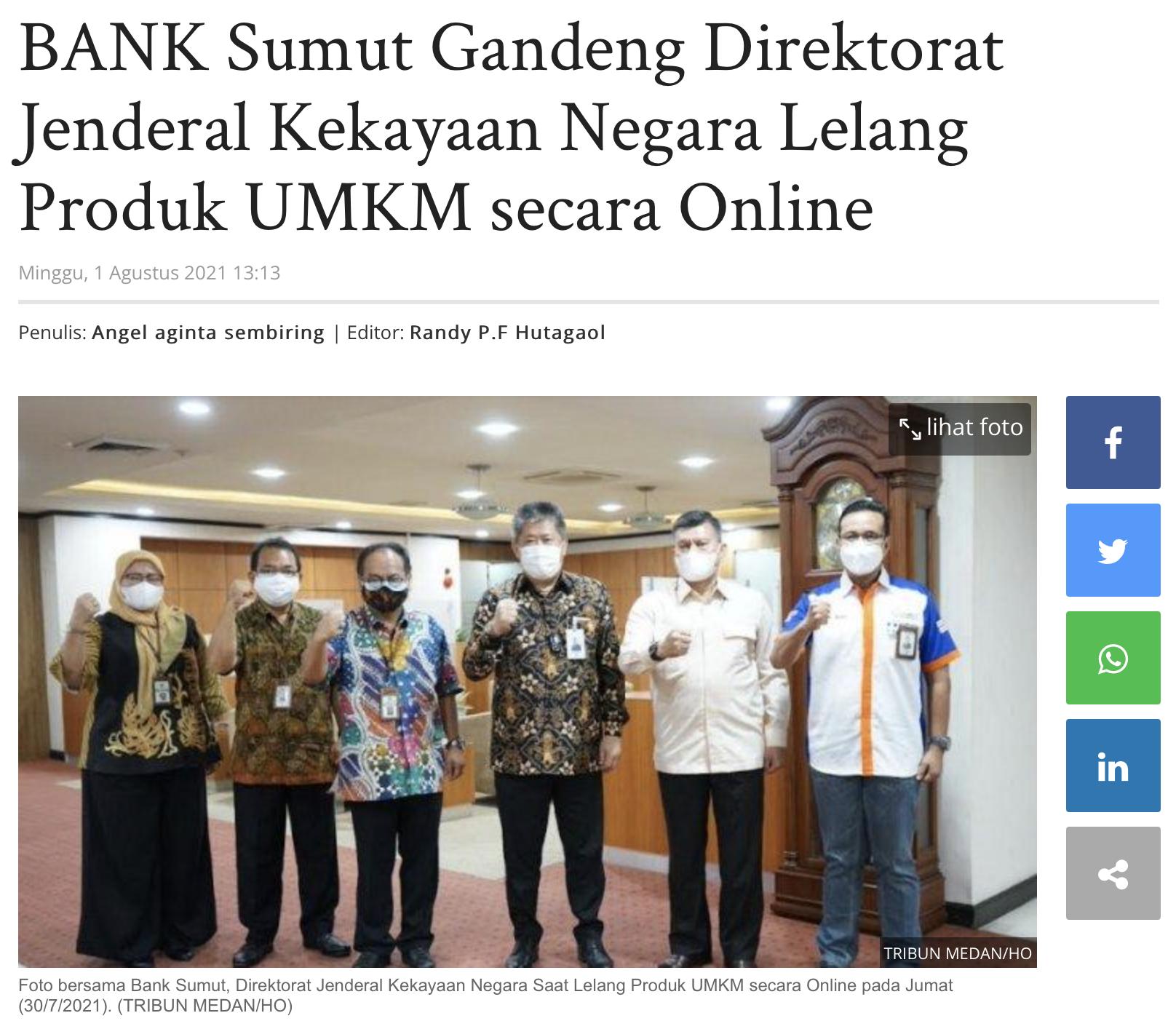 BANK Sumut Gandeng Direktorat Jenderal Kekayaan Negara Lelang Produk UMKM secara Online