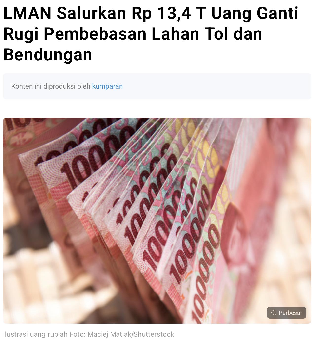 LMAN Salurkan Rp 13,4 T Uang Ganti Rugi Pembebasan Lahan Tol dan Bendungan