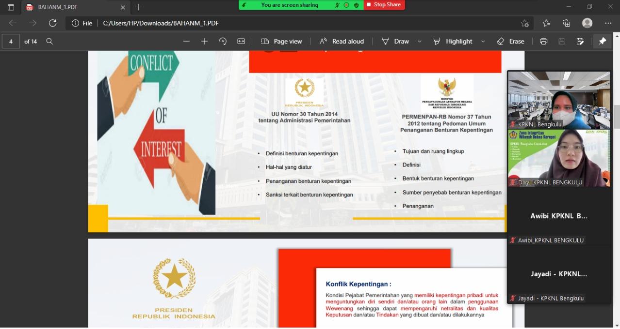 Cegah Gratifikasi, Seksi Kepatuhan Internal KPKNL Bengkulu melakukan Sosialisasi Penggunaan Aplikasi GOL dan Benturan Kepentingan