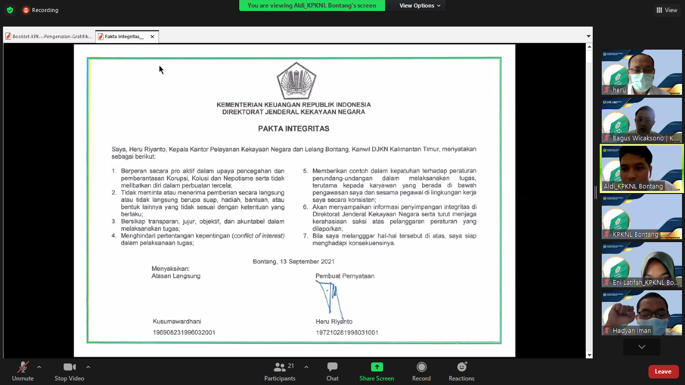Sosialisasi Program Pengendalian Gratifikasi (PPG) dan Penandatanganan Secara Simbolis Pakta Integritas KPKNL Bontang