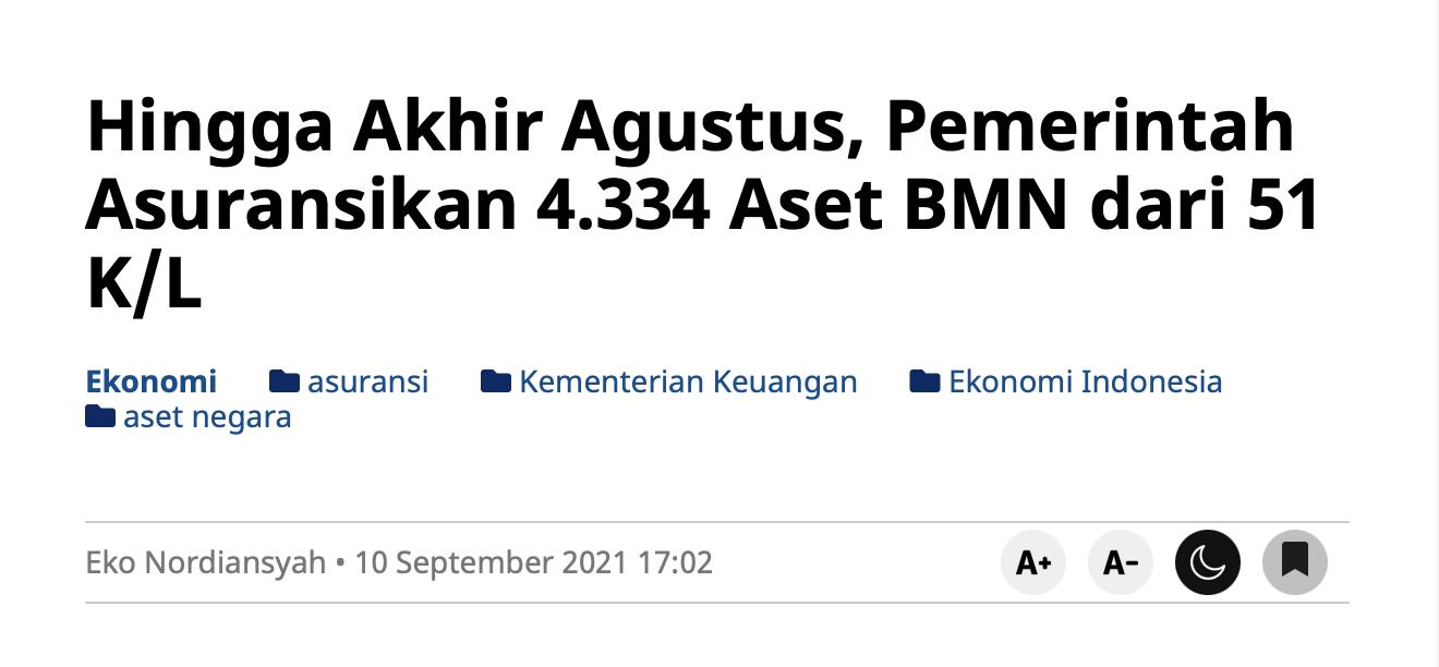Hingga Akhir Agustus, Pemerintah Asuransikan 4.334 Aset BMN dari 51 K/L