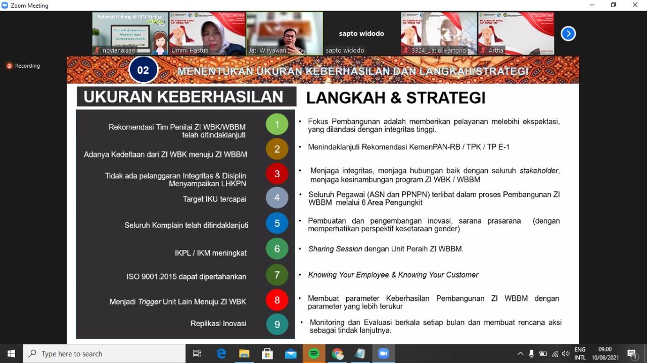 Sharing Session Bersama BPS Kendal, KPKNL Pekalongan Jadi Mentor Pembangunan Zona Integritas