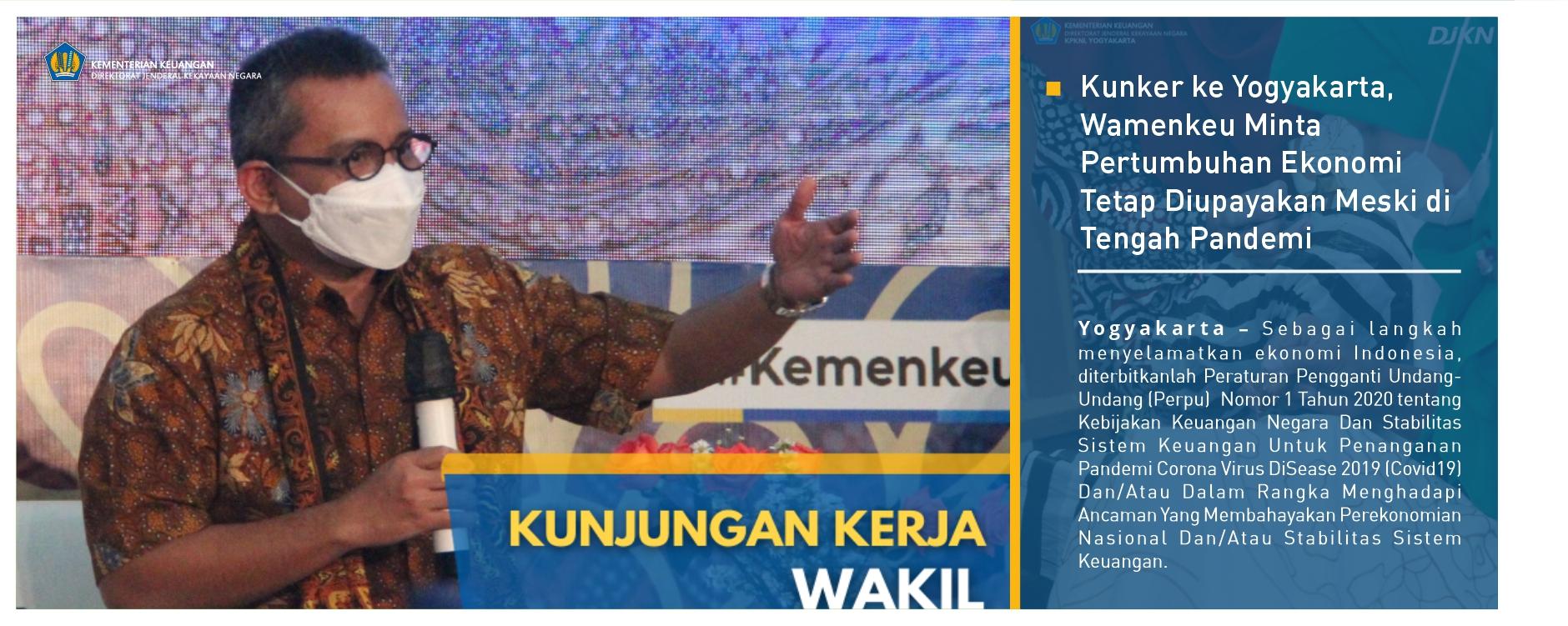 Kunker ke Yogyakarta, Wamenkeu Minta Pertumbuhan Ekonomi Tetap Diupayakan Meski di Tengah Pandemi
