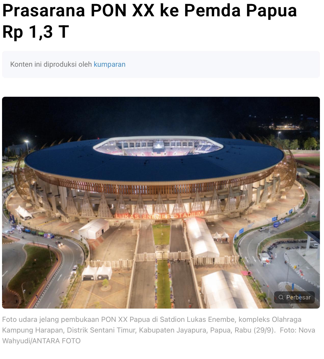 Pemerintah Hibahkan Sarana Prasarana PON XX ke Pemda Papua Rp 1,3 T