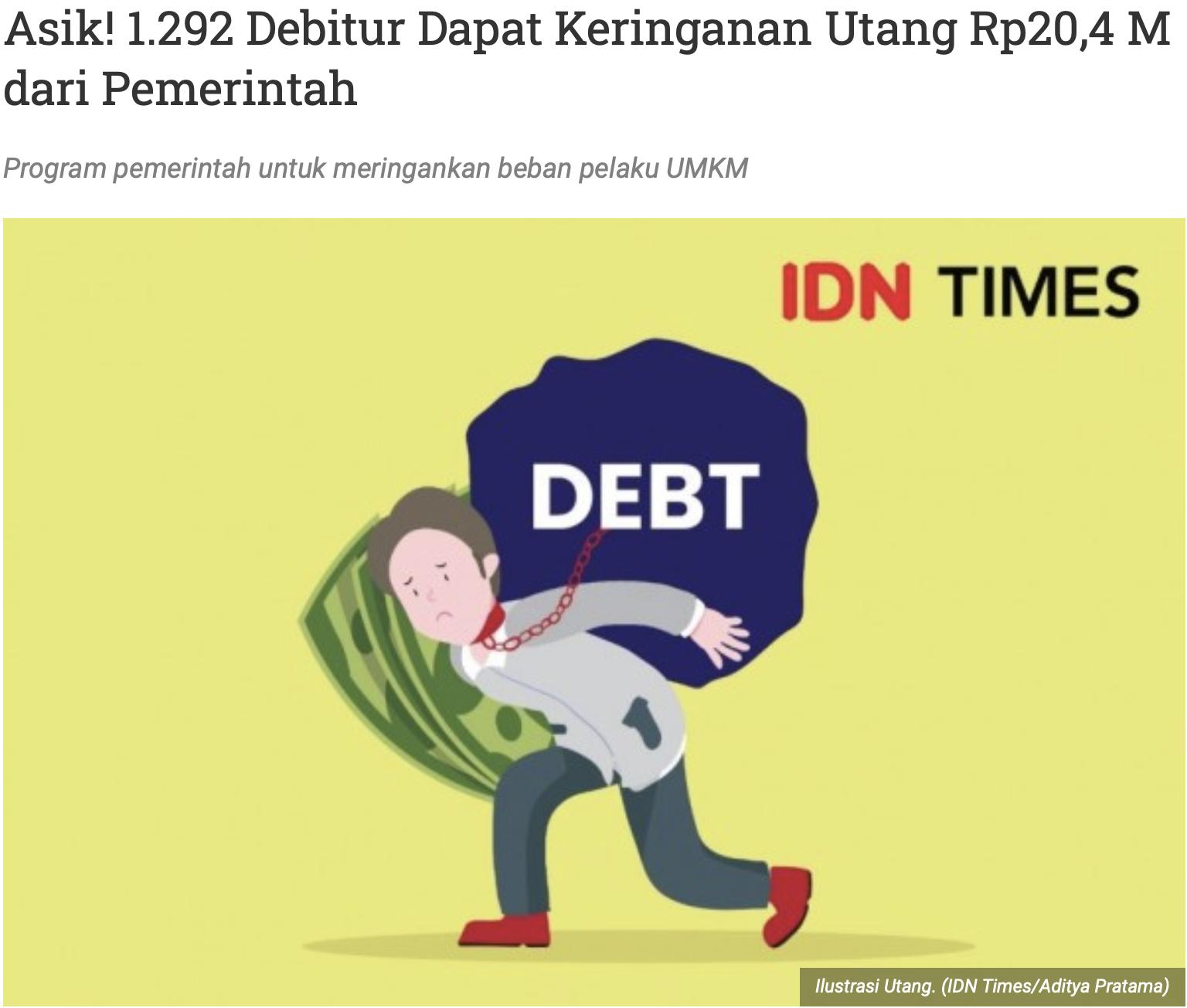 Asik! 1.292 Debitur Dapat Keringanan Utang Rp20,4 M dari Pemerintah
