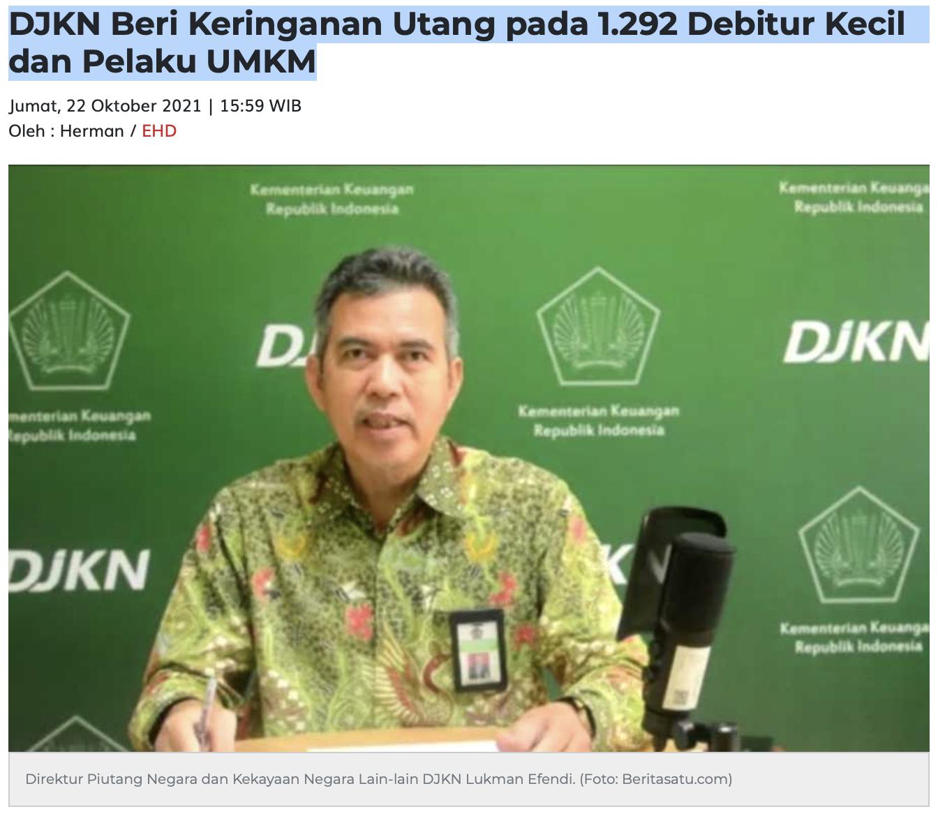 DJKN Beri Keringanan Utang pada 1.292 Debitur Kecil dan Pelaku UMKM