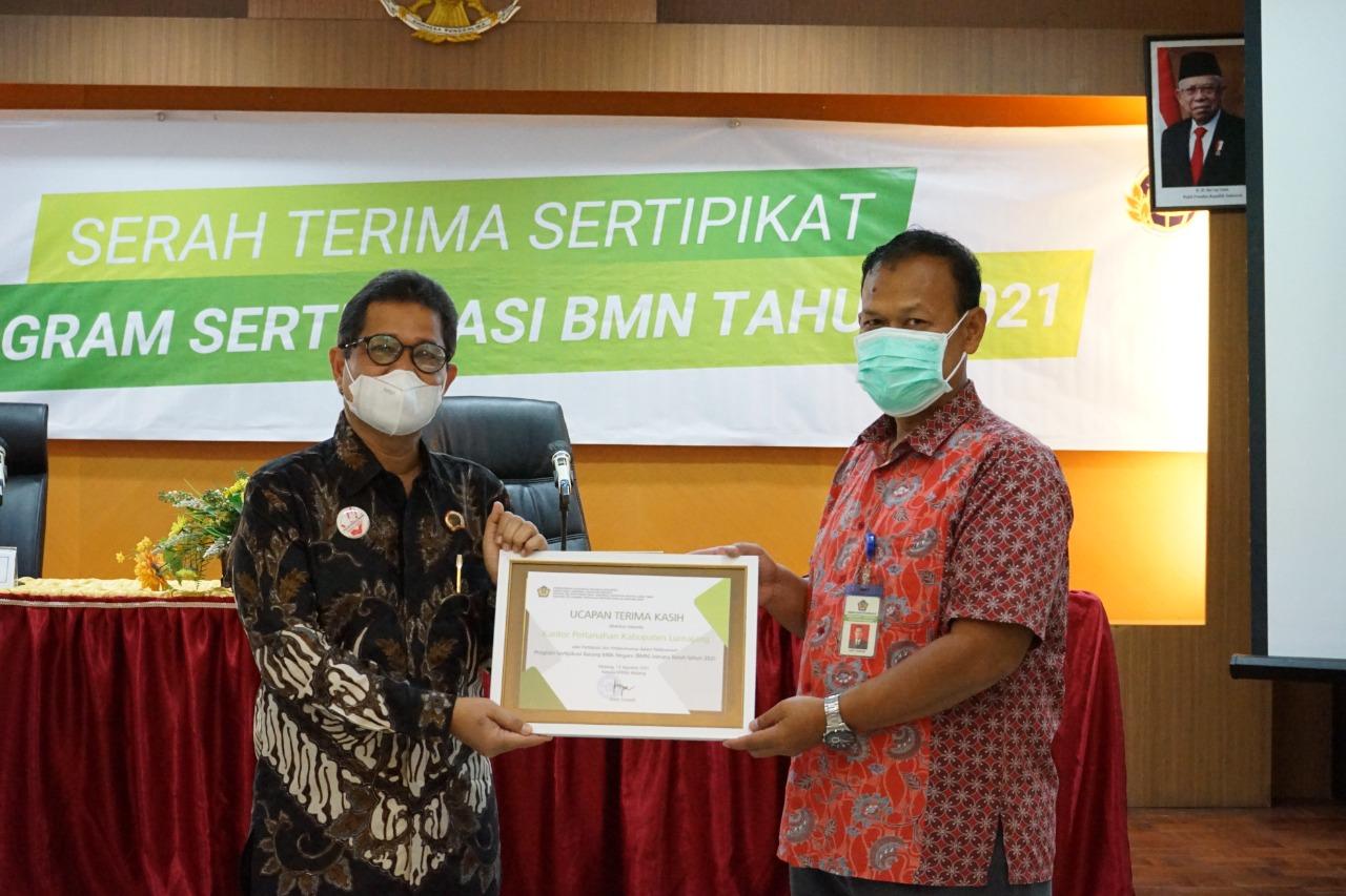 Serah Terima Sertipikat , Program Sertipikasi Barang Milik Negara (BMN) Tahun 2021