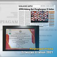 KPKNL Malang Raih Penghargaan PRISMA Periode Triwulan II Tahun 2021